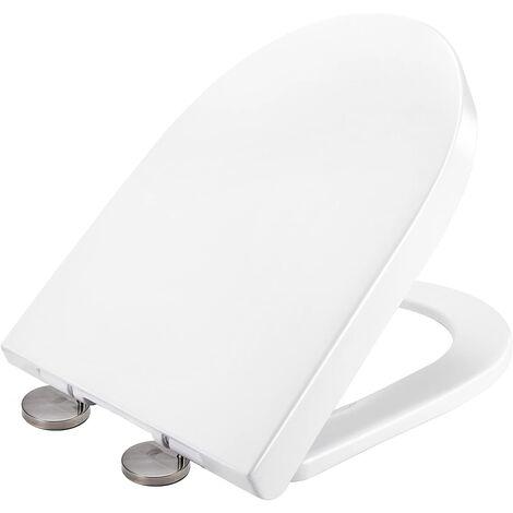 Abattant WC, Lunette de Toilette en Aminolac avec Blocage Rapide et Pare-chocs Antidérapants, Cuvette de Toilette Silencieux pour une Installation et un Nettoyage Faciles