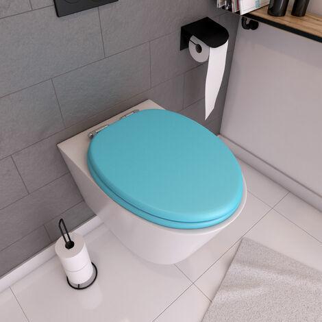 Abattant WC - MDF et Double frein de chute - SOFT BLUE - Turquoise