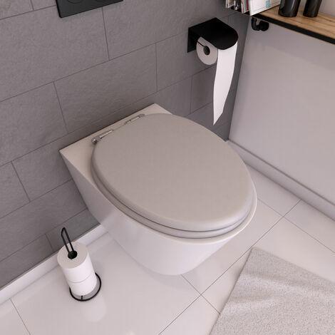 Abattant WC - MDF et Double frein de chute - SOFT GREY - gris perle