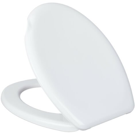 Abattant WC, ovale, encoche, sans rabattage automatique, lunette toilette plastique, LxP: 37 x 45 cm, blanc