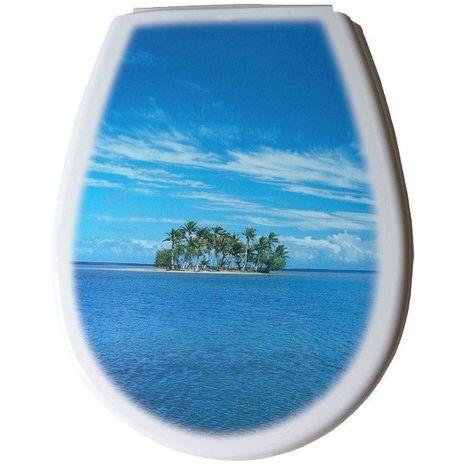Abattant wc polypropylene fantaisie bleu série LILIA photo island 444 x 366 x 45 mm Fixations ajustables (min 45 – max 180 mm) / Couleur: Blanc et bleu / Référence: 80380
