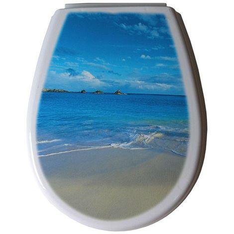 Abattant wc série LILIA photo beach 444 x 366 x 45 mm Fixations ajustables (min 45 – max 180 mm) / Couleur: Bleu / Référence: 80376