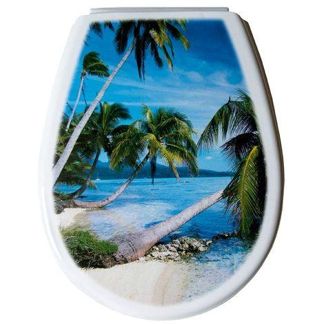 Abattant wc SERIE LILIA photo palm 444 x 366 x 45 mm Fixations ajustables (min 45 – max 180 mm) / Couleur: Bleu / Référence: 80377