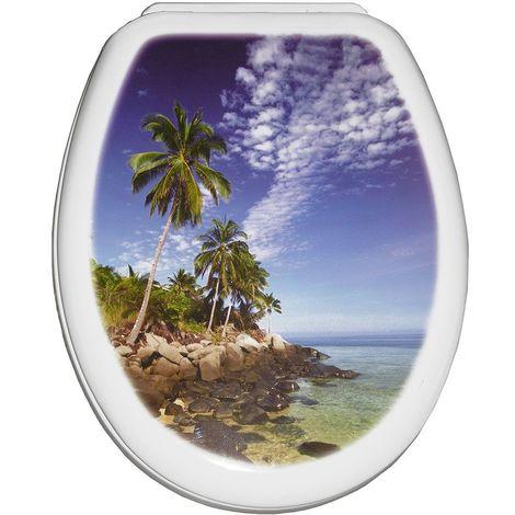 Abattant wc série YUCCA photo palm 444 x 361 x 45 mm Fixations ajustables (min 45 – max 180 mm) / Couleur: Bleu blanc / Référence: 80675