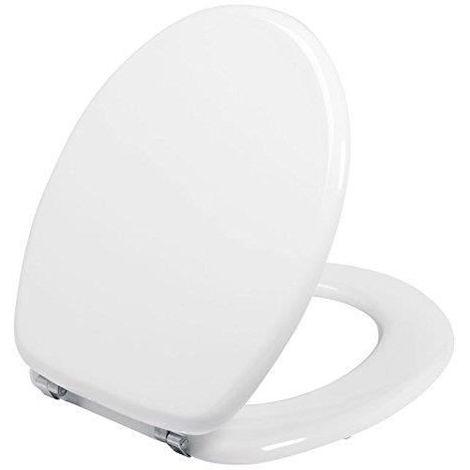 Abattant WC standard en bois laqué blanc avec charnières en inox ...