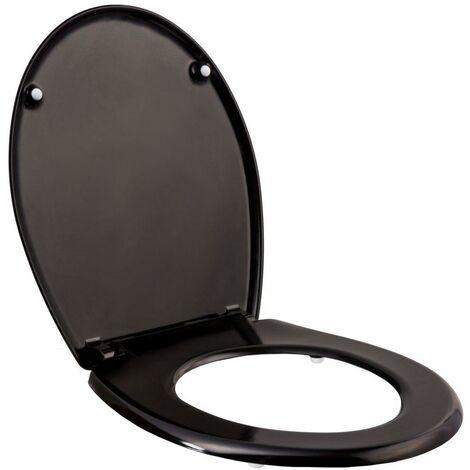 Abattant WC toilette salle de bain blanc noir - Blanc