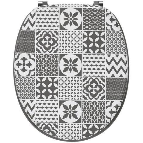 """main image of """"Abattants wc trendy line bois déco tiles Carreaux de ciment mat - Dim : 37,5 X 45,5 cm -PEGANE-"""""""