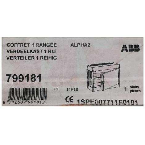 ABB 799181 - Coffret 1 rangées 18 modules - Alpha2 - avec Porte - 1SPE007711F0101