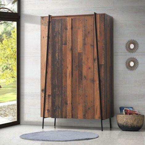 Abbey 2 Door Double Wardrobe Bedroom Furniture Rustic Industrial Oak Effect