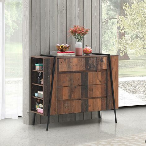 Abbey Rustic Chest of Drawers 4 Drawer Bedroom Living Room Storage Industrial