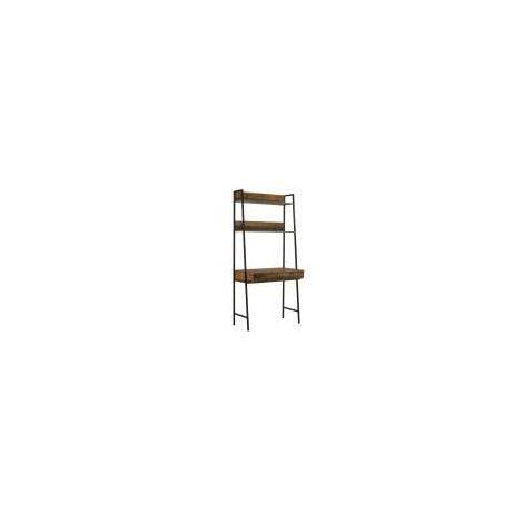 Abbey Rustic Retro Ladder Bookcase Desk Shelving Shelf Unit White 3 Tier Tad308