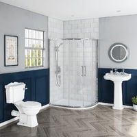 Abbey Traditional 1200mm Offset Quadrant RH Shower Enclosure Suite with Easy Clean Glass