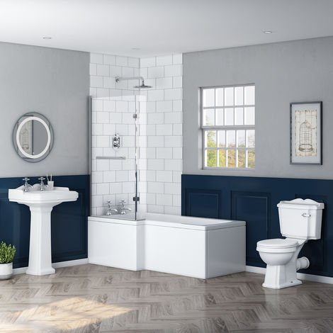 Abbey Traditional Bathroom Suite with Left Hand L Shape Shower Bath
