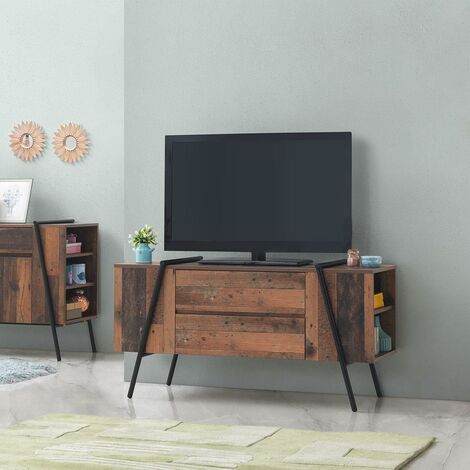 Abbey TV Unit Stand Cabinet Rustic Industrial Living Room Furniture