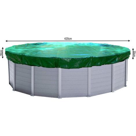 Abdeckplane Pool Rund Planenmaß 480cm für Pools 380 bis 420 cm Durchmesser Winterabdeckplane Poolabdeckung 180g/m²