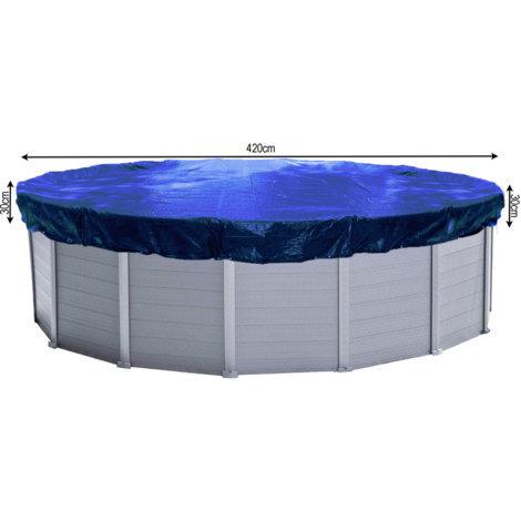 Abdeckplane Pool Rund Planenmaß 480cm für Pools 380 bis 420 cm Durchmesser Winterabdeckplane Poolabdeckung 200g/m² Blau
