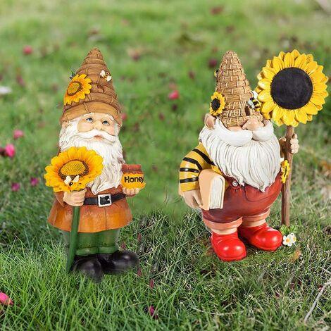 """main image of """"Abeille Jour Gnome, Jardin Gnomes, Statue Jardin, Résine Faceless Poupée Elf Nain Sculpture Avec Tournesol Ornement Décoration De Jardin Maison Style2"""""""