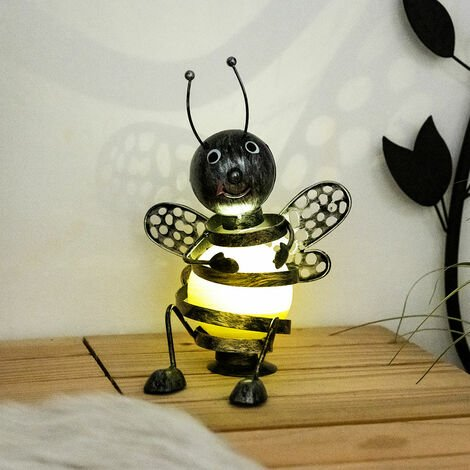 Abeja solar exterior abeja decoración jardín figuras para exterior metal, batería negro amarillo, 1x LED 0,06 vatios, altura 25 cm, jardín
