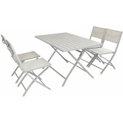 Set Tavolo E Sedie Da Giardino In Alluminio.Abelus Set Tavolo Da Giardino Pieghevole Salvaspazio In Alluminio 70 X 130 Comrpeso Di 4 Sedie In Alluminio E Textilene
