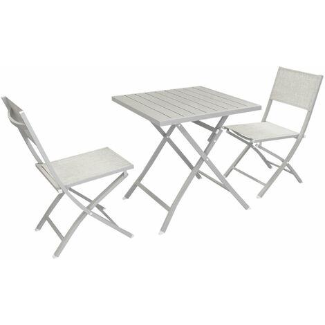 Set Tavolo E Sedie Da Giardino In Alluminio.Abelus Set Tavolo Da Giardino Pieghevole Salvaspazio In Alluminio 70 X 70 Compreso Di 2 Sedie In Alluminio E Textilene
