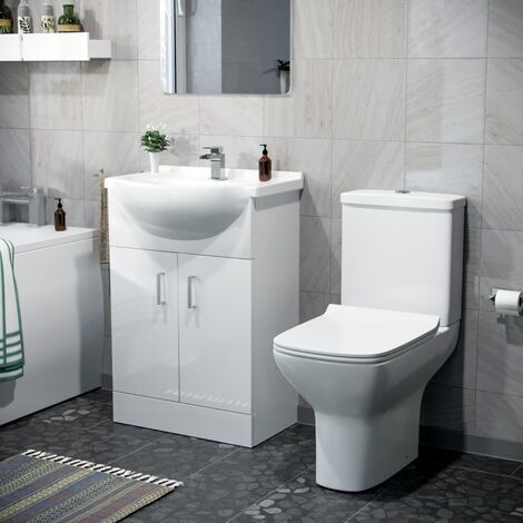 Abermule 550mm Vanity Basin Unit & Close Coupled Toilet White