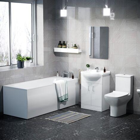 Abermule Bathroom Basin Vanity Unit, Toilet and Bath Suite White