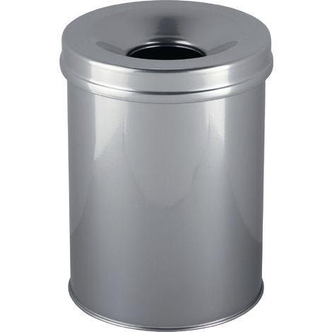 Abfallbehälter D.260xH357 Stahlb.15l silber m. Flammlöschkopf selbstverlöschend