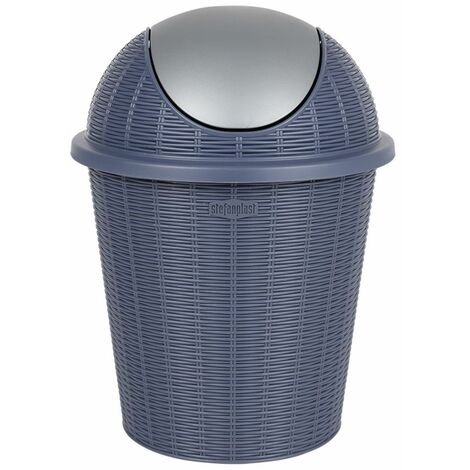 Abfalleimer blau 10L mit Schwingdeckel Mülleimer Papierkorb Abfallsammler Rattan
