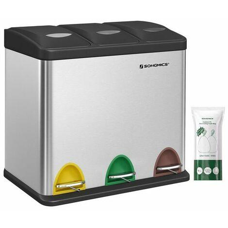 Abfalleimer Mülleimer mit Inneneimer Mülltrennsysteme Treteimer Edelstahl 24L (3 x 8L) LTB24L