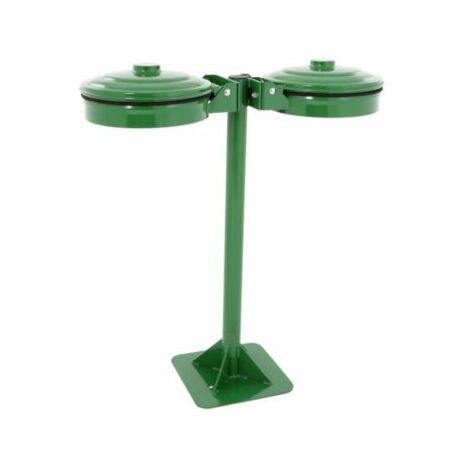 Abfallsackhalter, grün, für Sackinhalt 2 x 110 l, mit Bodenplatte Müllkörbe