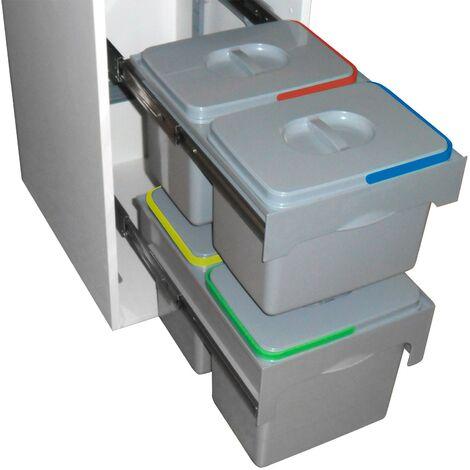 Abfallsammler Mülleimer Müllsammler 2x15 L + 2x12 L Abfalleimer Abfallbehälter