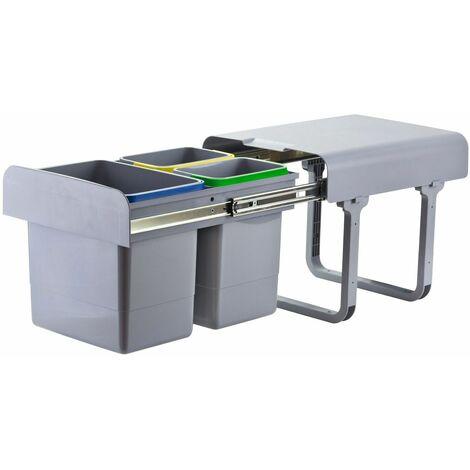 Abfallsammler Mülleimer Müllsammler 1x15 L + 2x7 L Abfalleimer Abfallbehälter