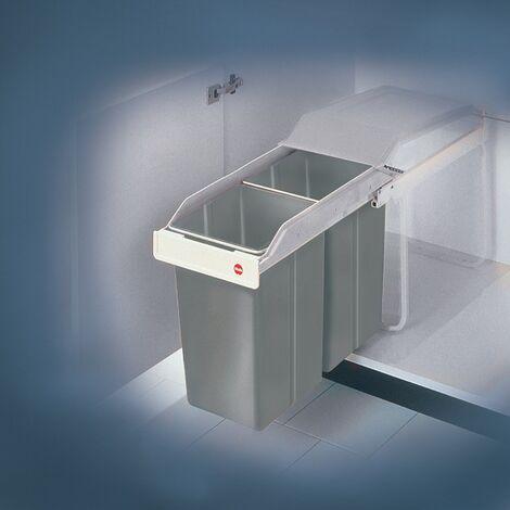 Abfallsammler Multi-Box 2 x 15l B260xT510xH460mm grau f.Unterschränke ab B.300mm
