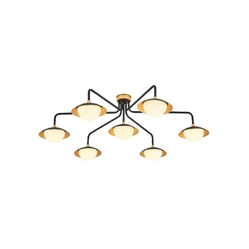 Abi II Deckenlampe - Deckenleuchte - von Wall - Schwarz, Gold aus Metall, Acryl, 80 x 80 x 25 cm, 7 x LED, Max 5W, 3000K, 3000LM - HOMEMANIA
