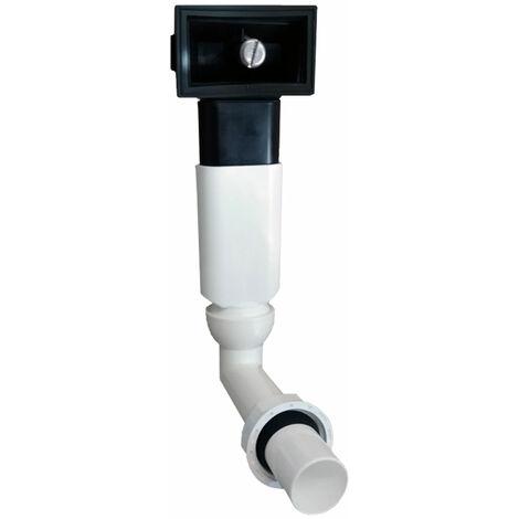 Ablauf-Set komplett für rechteckigen Überlauf im Küchenspülen-Becken mit Kugelgelenk und 1 Zoll Anschluss an Ventilablauf / Siphon