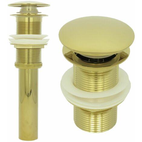 Ablaufgarnitur ohne Überlauf Gold Retro Waschbecken Pop Up Ablaufventil Nostalgie Messing Abflussrohr Ventil Abfluss