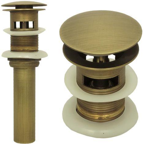 Ablaufgarnitur Pop up mit Überlauf Antik Braun Retro Ablaufventil Waschbecken Abflussrohr Ventil Nostalgie Messing Abfluss