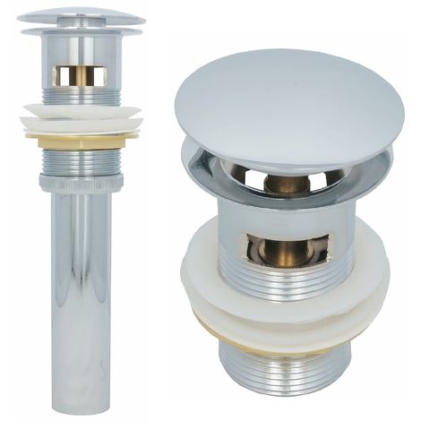 Ablaufgarnitur Pop up mit Überlauf Chrom Ablaufventil Waschbecken Abflussrohr Ventil Messing Abfluss