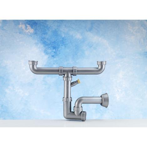 Ablaufset - Verbindungsrohrwerk für Küchen-Spülen mit 2 Becken - Kunststoff, silber inkl. Siphon