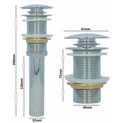 Ablaufventil ohne Überlauf Chrom Waschbecken Pop Up Ablaufgarnitur Messing Abflussrohr Ventil Abfluss