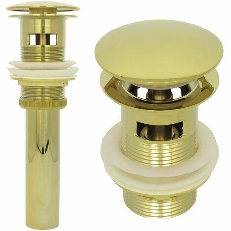 Ablaufventil Pop up mit Überlauf Gold Retro Ablaufgarnitur Waschbecken Abflussrohr Ventil Nostalgie Messing Abfluss