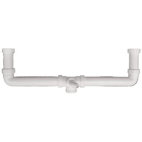 Ablaufverbindung für Doppelspülen , Zentrischer Abgang , Doppel-Küchenspülen , Küchenspüle , 1 1/2 Zoll
