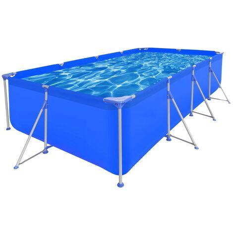 Above Ground Swimming Pool Steel Rectangular 394 x 207 x 80 cm