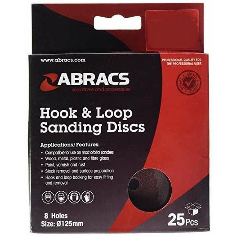 Image of 125mm Hook & Loop Sanding Discs 8 Hole 40 Grit - 25 Pack - Abracs