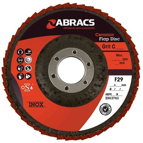Abracs Ceramic Flap Disc 125mm x 22mm x 40G