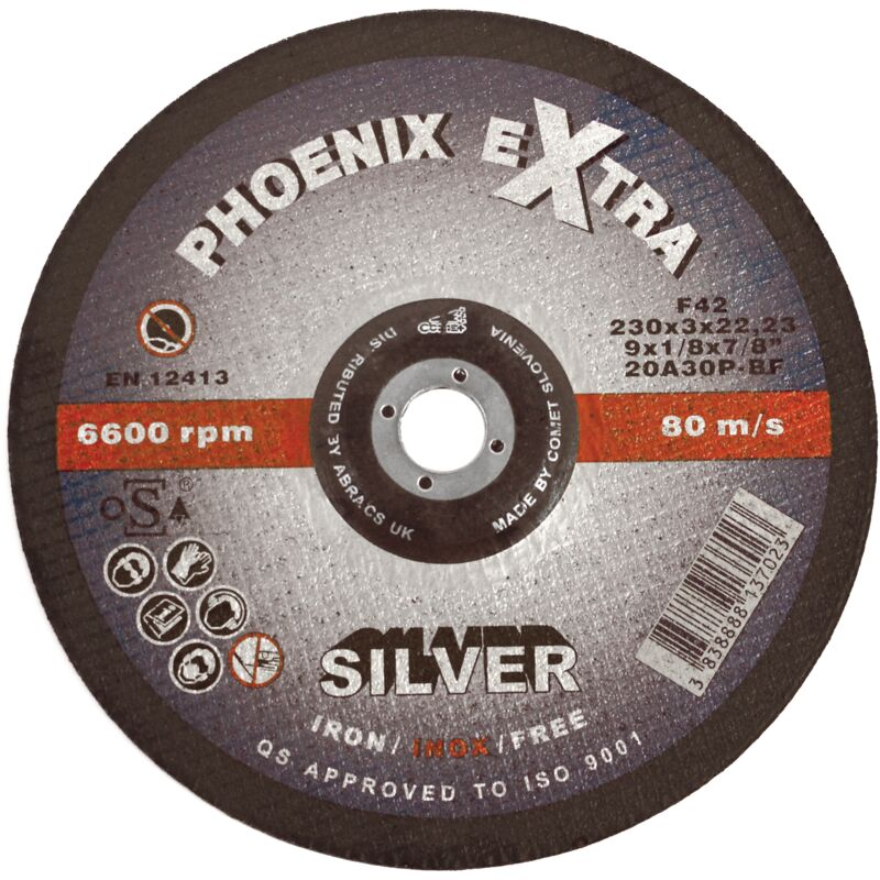 Image of Phoenix Silver Cutting Disc 230mm x 3mm x 22mm - Abracs