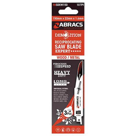 "main image of ""Abracs Recip Blade 150x22x1.6mm Demolition - 3 Pack"""