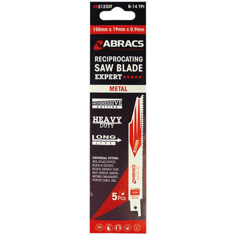 Abracs Recip Blade 225x19x0.9mm Metal - 5 Pack