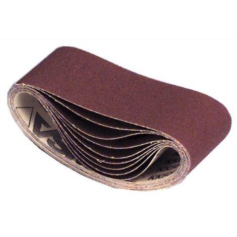Abrasifs en bandes courtes toile 504X 100x610 mm grain 80 en boîte de 10