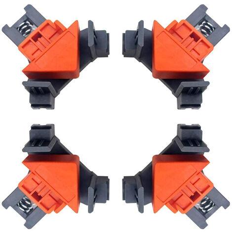 Abrazaderas angulares, 4 abrazaderas ajustables de 90 grados, multifuncional, con resorte, columpio, para esquinas, para soldar madera, taladrar, hacer gabinetes, naranja